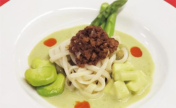 県産野菜三種のザージャン一本麺